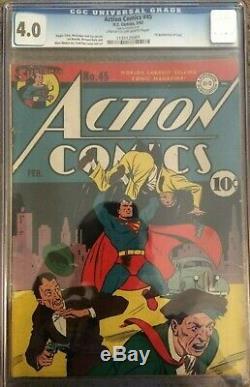 Action Comics Superman # 45 Cgc 4.0 Du Premier Numéro De Trucs