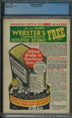 Action Comics Superman 53 1942 Guerre Mondiale Couverture 2 Couverture II Cgc Graded 6.0