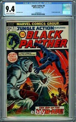 Action Du Jungle 5 Cgc 9.4 1ère Panther Black Nouvelle Cas Bronze Âge Comics Marvel 1973