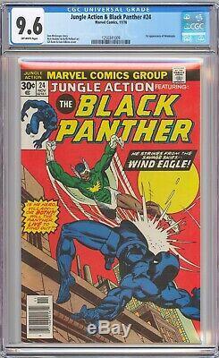 Action Jungle # 24 Cgc 9,6 Nm + Psh Black Panther Vintage 1976 Marvel Comics Pwc
