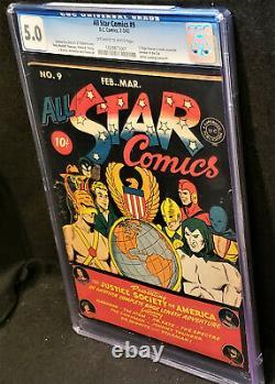 All Star Comics #9 (dc Févr./mars 1942) Âge D'or Cgc 5.0