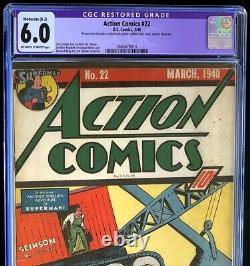 Bandes Dessinées D'action N ° 22 (dc 1940) Cgc 6.0 Restauré Rare Âge Doré Superman