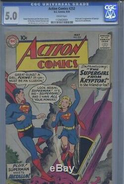 Cgc 5,0 Vg / F Action Comics 252 Origine Et 1er Apparition De Supergirl (superman)