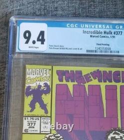 Cgc 9.4 Hulk #377 Marvel Comics 1991 Super Rare 3e Édition Imprimée (brève Impression)