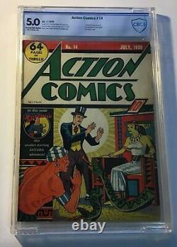 Comics D'action #14 Cgc 5/10 Superman 1939 Zatara Couverture. 1ère Vision Des Rayons X