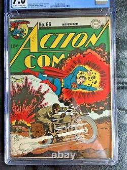 Comics D'action #66 Cgc Fn/vf 7.0 Cm-ow Burnley Wwii Moto Cvr