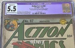 Comics D'action #67 (1943, DC Comics) Cgc 5.5 Légère Restauration