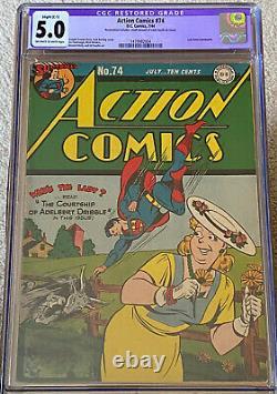 Comics D'action #74 (1944, Dc) Cgc 5.0 Légère Restauration