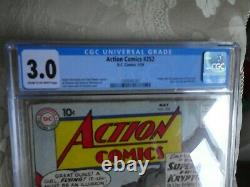 DC Action Comics Cgc 3.0 Superman Golden #252 1st Supergirl Appearance 3.0 Cgc