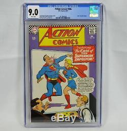 DC Action Comics N ° 346 Cgc 9.0 Pages Blanches Superman Dorfman Bernstein Swan Klein