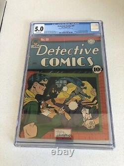 Détective Comics #59 Cgc 5.0 2e Apparition De Penguin Golden Age 1 / 1942
