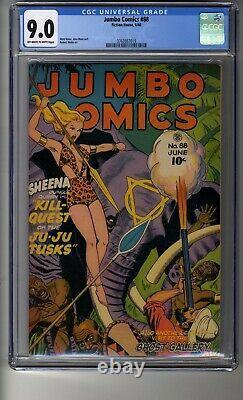 Jumbo Comics (1938) # 88 Cgc 9.0 Owithwhite Pages Sheena, Reine De La Jungle
