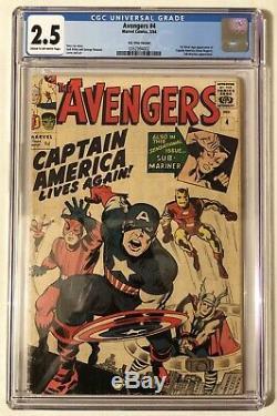 Marvel Comics Avengers # 4 1964 Cgc 2.5 1er App Silver Age Of Captain America