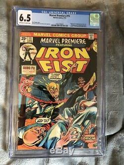 Marvel Premiere # 15 (premier Numéro Iron Fist) Cgc 6.5