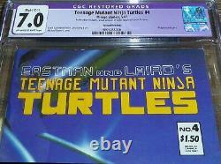 Mutant Adolescent Ninja Turtles #4 Cgc 7.0 Mirage Studios Comics 2ème Impression