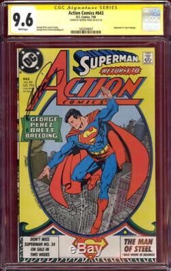 Signé George Perez Art Cgc Ss 9.4 Action Comics # 643 Superman # 1 Couverture Hommage