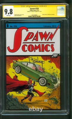 Spawn 228 Cgc Ss 9.8 Todd Mcfarlane Signé Action Comics 1 Hommage Couverture