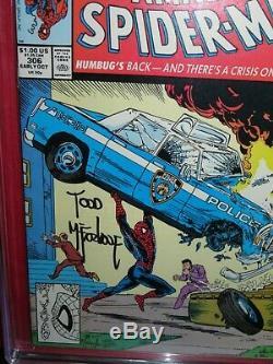 Spider-man 306 Signé Par Action Comics Todd Mcfarlane Hommage Cgc 9,6 Marvel 1988
