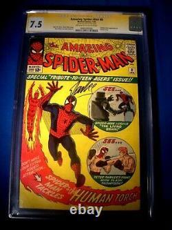 Stan Lee Signé 1964 Spider-man Incroyable # 8 Ss Cgc 7,5 Vf- Marvel Comics
