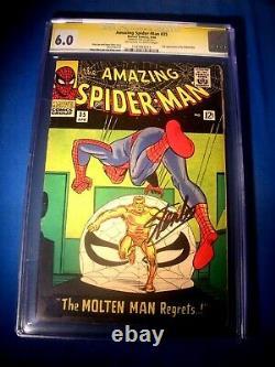 Stan Lee Signé 1966 Spider-man Incroyable #35 Ss Marvel Comics Cgc 6.0 Fn Bold
