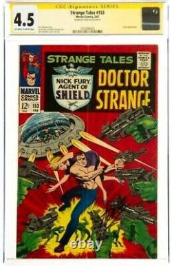 Stan Lee Signé 1967 Taux Stange #153 Ss Marvel Comics Cgc 4.5 Vg+ Umar