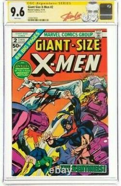 Stan Lee Signé 1975 Taille Géante X-men #2 Ss Marvel Comics Cgc 9,6 Nm+ 2 Supérieur
