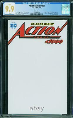 Superman Action Comics 1000 Cgc 9,9 Mint Couverture De La Variante De Croquis