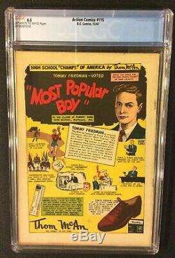 Superman Action Comics # 115 Comic Book Cgc 6.5 DC 1947 Golden Age 10 Cent