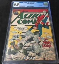 Superman Action Comics # 86 Cgc 8.5 Ow-w Guerre Couverture 2e Plus Gradé Sur Le Recensement