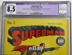 Superman Comics # 3 Cgc 8.5 Superman 1940 Réimprime Les Histoires Action 5 & 6