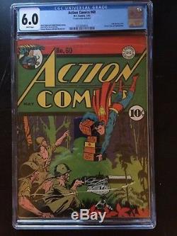 Thème D'action # 60 Cgc Fn 6.0 Blanc Pg! 1ère Couverture De Lois Lane Superwoman Wwii