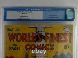 Worlds Finest Comics #7 Cgc 4.0 Kirby! Livraison Gratuite