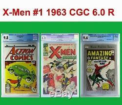 X-men # 1 1963 Cgc 6.0 R, Action Comics # 1 Cgc 9.8 Et Amazing Fantasy # 15 Cgc 9.6